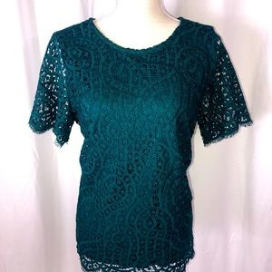 Philosophy Teal Lace Blouse Size Med